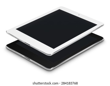 Realistic tablet computers with black screen isolated on white background. Highly detailed illustration.