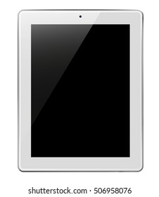 Realistic tablet pc computer with black screen isolated on white background. 3D illustration.