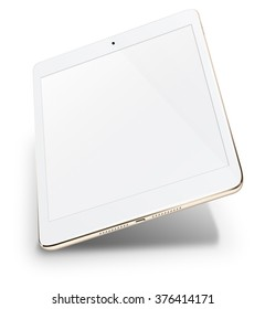 Realistic tablet pc computer with blank screen isolated on white background. Illustration.