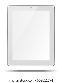 Realistic tablet pc computer with blank screen and shadows isolated on white background. 3D illustration.