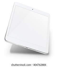 Realistic tablet pc computer in ipade style with blank screen isolated on white background. 3D Illustration.