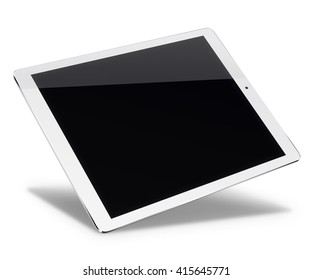 Realistic tablet pc computer in ipade style with black screen isolated on white background. 3D illustration.