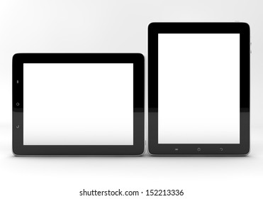 Realistic tablet pc computers with blank screen isolated on white background