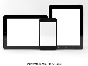 Realistic tablet pc computers and mobile phone with blank screen isolated on white background