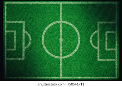 Realistic textured grass football - soccer field. 3D rendering image