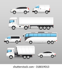 Realistic transport icons set with car van bus truck isolated  illustration