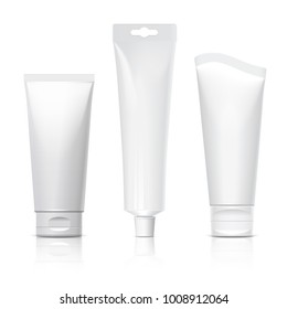 Realistic tube. Set of cosmetic products on a white background. Cosmetic package collection for cream, soups, foams, shampoo, tooth paste, glue. 3D illustration.
