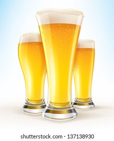 Realistic Vector Glasses of Beer close-up EPS10