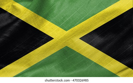 Realistic wavy flag of Jamaica.