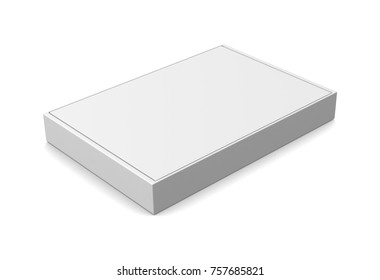 Realistic white blank box for design and logo isolated on white background. 3d illustration