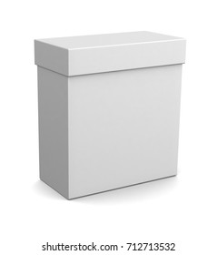 Realistic white blank box isolated on white background. 3d illustration
