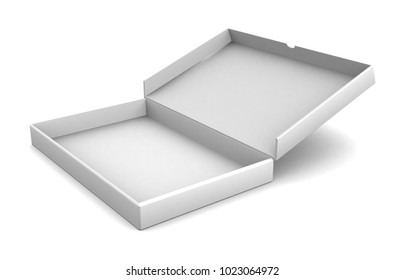 Realistic white blank open box isolated on white background. 3d illustration