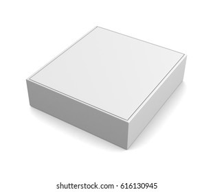 Realistic white box isolated on white background. 3d illustration