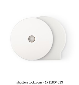 Realistic white cd with box cover template isolated on white background with clipping path.