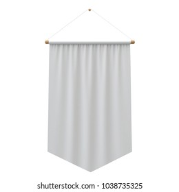 Realistic white cloth hanging banner. 3D Rendering
