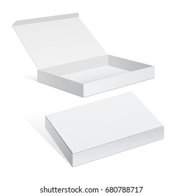 Realistic White Package Cardboard Box set. For Software, electronic device and other products. 3D illustration