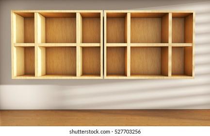 Realistic wooden empty shelf 3d render