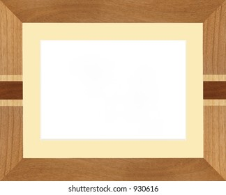 Realistic wooden picture frame, with bevel edge mount.  Mount color can be changed easily.