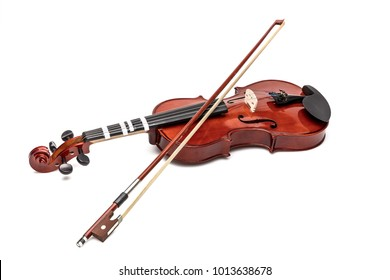 Realistic wooden violin with a fiddle stick on white background. The musical instrument of Sherlock Holmes. Vector image for postcards, design and your business.