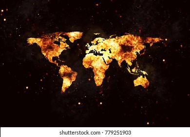 Realistic world map burning fire flames with sparks and smoke, explosion effect on black background.