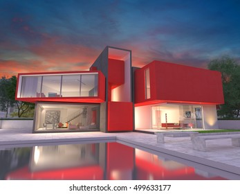 Realistic3D  rendering of a very modern upscale red house