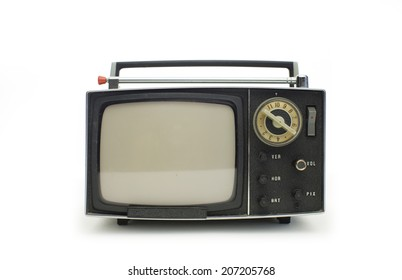 really cool retro vintage portable television shot against white
