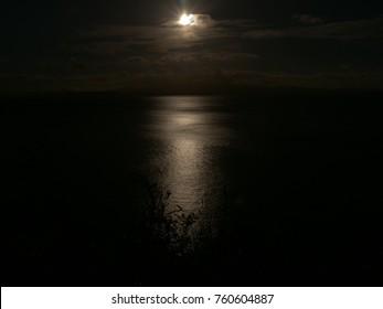 Really Dark Sunset on Irish Sea