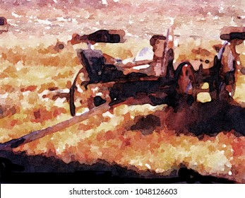 Really nice Watercolor painting of a Ghost Town Wagon