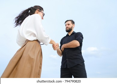 Martial arts greetings couple training on stock photo edit now realtor female and business man negotiate deal about buying house at shore smiling girl and m4hsunfo