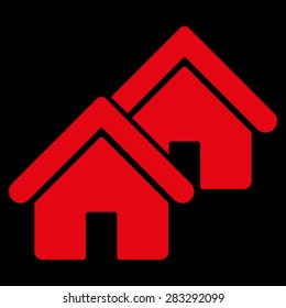 Realty icon from Business Bicolor Set. Glyph style: flat symbol, red color, rounded angles, black background.