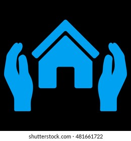 Realty Insurance Hands icon. Glyph style is flat iconic symbol, blue color, black background.