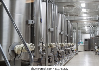 realy modern wine factory with large tanks for the fermentation