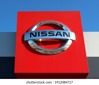 Reana, Italy. January 18, 2021. Nissan logo outside the local dealership of the japanese automaker.