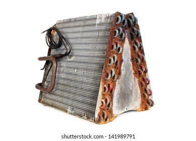 The rear angle of an old A-frame evaporator coil taken from a 2.5-ton residential r22 straight capillary system.
