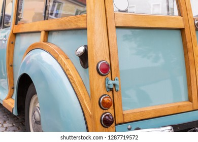 Rear of a British pickup truck of the sixties