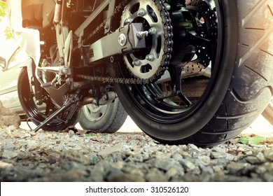 rear chain and sprocket of motorcycle wheel