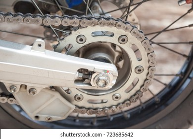 rear chain and sprocket of motorcycle wheel,slective focus