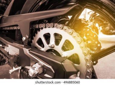 Rear chains and sprocket of motorcycle wheel, Motorbike chains.