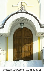 Rear entrance porch of The Church of the Nativity in Obninsk, Kaluga region, Russia