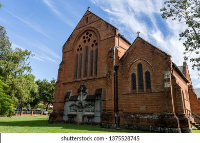 The rear facade of the Gothic architectural style Cathedral Church of Christ the King, an Anglican temple built in 1884 in central Grafton, a town in northern New South Wales, Australia
