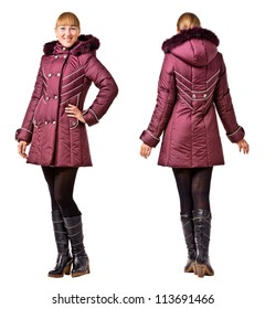 Rear and front  view of woman in winter hooded jacket on white background