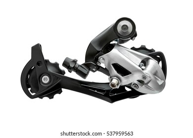 Rear gearshift isolated on white. Bicycle cycling road race sport transmission change speed.