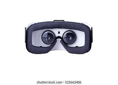 Rear inside view of virtual reality headset, isolated on white background