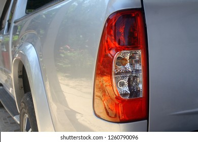 Rear light of the pickup  car, Tail light of pickup car.