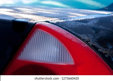 Rear lights of the car in winter. preparing the car for winter