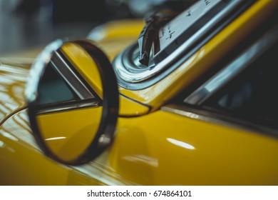 Rear mirror of a vintage car