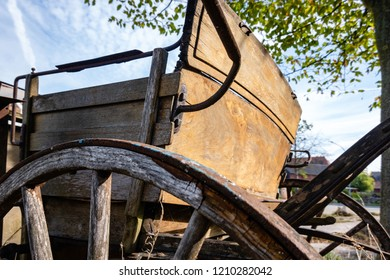 Rear of an old horse-drawn carriage no longer in use