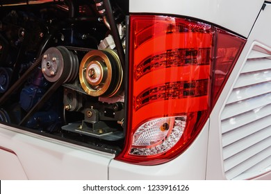 the rear Parking lights of the city bus and engine parts. Modern led and halogen lighting