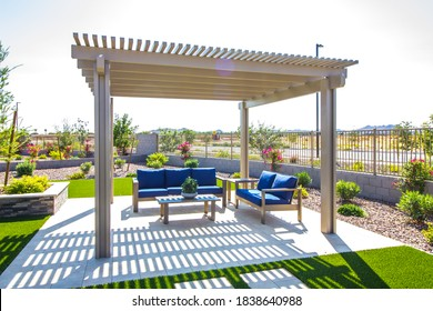 Rear Patio Pergola With Wooden Furniture