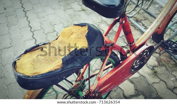 Rear Seat Bicycle Dilapidatedseat Cushions Made Stock Photo Edit